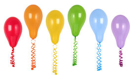 Colorful balloons with streamers. Isolated on white background Stock Photo