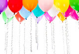 Colorful balloons with streamers on birthday party