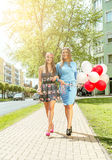 Colorful balloons in the street. Royalty Free Stock Image