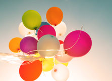 Colorful balloons in summer morning time. Stock Images
