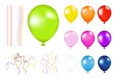 Colorful Balloons. Vector. Set of Colorful Balloons with details. Isolated on white Royalty Free Stock Photography