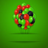 Colorful balloons. Vector red background. Royalty Free Stock Photo