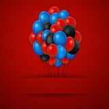 Colorful balloons. Vector red background. Royalty Free Stock Photos