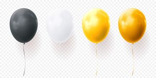 Colorful balloons vector transparent background glossy realistic black baloon for Birthday party