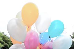 Colorful balloons. Vintage colorful balloons in the air Stock Photos