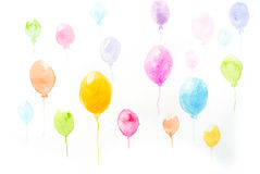 Colorful balloons, watercolor painting. Watercolor painting of colorful balloons on paper for card Stock Images