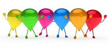 Colorful balloons wave Royalty Free Stock Images