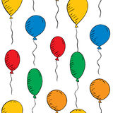 Colorful balloons on a white background. Seamless wallpaper Royalty Free Stock Image