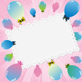 Colorful balloons and white card Stock Image