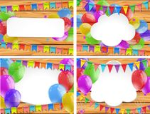 Colorful balloons on wooden boards. Illustration stock illustration