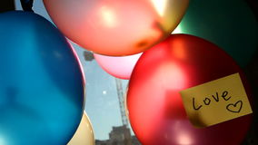 Colorful balloons with word Love, Valentines day concept stock video footage