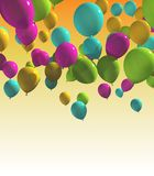 Colorful balloons with yellow Background. Multicolored balloons Stock Photos