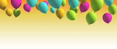 Colorful balloons with yellow Background. Multicolored balloons Royalty Free Stock Images
