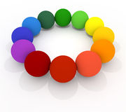 Colorful balls. 12 colored balls. Lined the ball in a circle. Red, orange, yellow, green, blue, light blue, purple, colorful balls Royalty Free Stock Photography