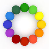 Colorful balls. 12 colored balls. Lined the ball in a circle. Red, orange, yellow, green, blue, light blue, purple, colorful balls Royalty Free Stock Image