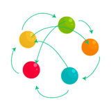 Colorful balls and arrows icon, cartoon style. Colorful balls and arrows icon in cartoon style on a white background Stock Images
