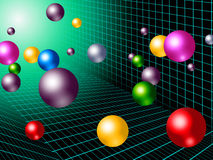 Colorful Balls Background Shows Rainbow Circles And Grid Royalty Free Stock Photography
