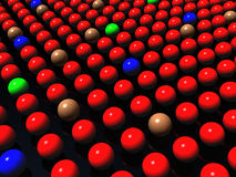Colorful balls on black background, diversity. Various Colorful ball in row on a black background, diversity, teamwork, success concept Royalty Free Stock Image