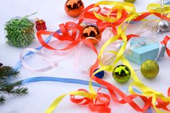 Colorful balls. Christmas Decoration During Christmas and Happy New Year. Background blur. stock images