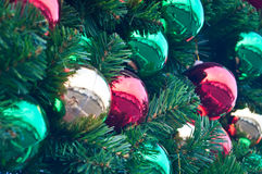 Colorful balls on Christmas tree Royalty Free Stock Photos