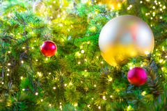 Colorful balls on a Christmas tree royalty free stock photo