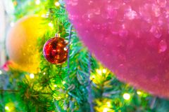 Colorful balls on a Christmas tree royalty free stock photography