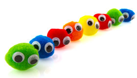 Colorful balls with eyes stock image