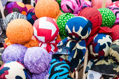 Colorful balls of fabric patterns Royalty Free Stock Photo