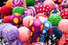 Colorful balls of fabric patterns Royalty Free Stock Image