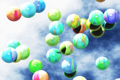 Colorful Balls Flying 3D render 1 Royalty Free Stock Images