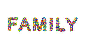 Colorful balls forming the word family Stock Photo