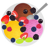 Colorful balls of ice cream with fruits and berries. Flat lay style. Vector illustration royalty free illustration