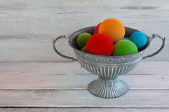 Colorful balls in metall bowl Royalty Free Stock Photos