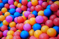 Colorful balls in pool pit Royalty Free Stock Photos