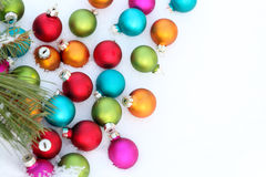 Colorful balls in snow Stock Photography