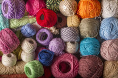 Colorful balls of wool Royalty Free Stock Photos