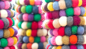Colorful balls of wool tied together for background Royalty Free Stock Photo