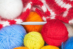 Colorful balls of wool yarn Royalty Free Stock Photos