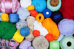 Colorful balls of yarn for knitting Royalty Free Stock Images