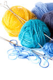 Colorful balls of yarn Royalty Free Stock Images