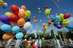 Colorful baloons in the sky Stock Images