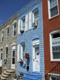 Colorful Baltimore Town Houses Stock Photos