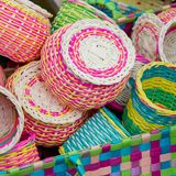 Colorful bamboo baskets Royalty Free Stock Photo