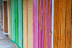Colorful bamboo door Royalty Free Stock Photo