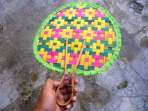 Colorful bamboo fans as background Stock Image