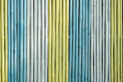 Colorful of bamboo fence Stock Images
