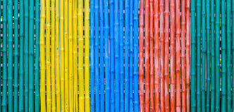 Colorful of bamboo fence. Royalty Free Stock Images