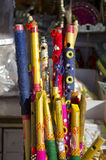 Colorful bamboo flutes in Jaipur bazaar, India Stock Photography
