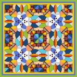 Colorful bandana print with kaleidoscope. Royalty Free Stock Photography