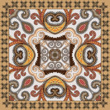 Colorful bandanna,  decorated paisley and swirls with black fest Stock Images